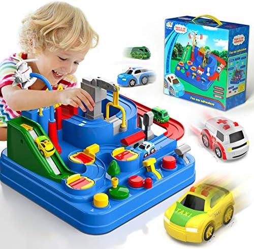 Lucky Doug Race Car Tracks for Boys Car Adventure Toys with 4 Mini Car 6 Buttons for 3 4 5 6 product image
