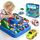 Lucky Doug Race Car Tracks for Boys, Car Adventure Toys with 4 Mini Car 6 Buttons for 2 3 4 5 6 Years Old Toddlers Boys Girls, Manually Operated Race Track Playset Education Toys for Kids Age 3+
