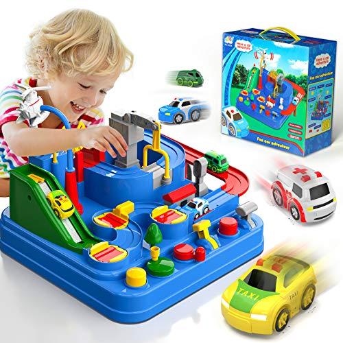 Lucky Doug Race Car Tracks for Boys, Car Adventure Toys with 4 Mini Car 6...