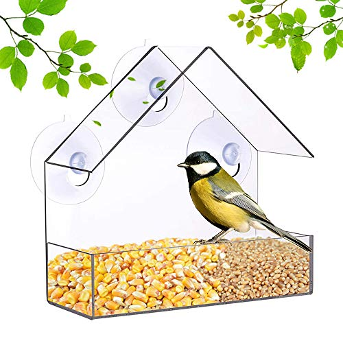 Lifreer Window Bird Feeder, Plastic Wild Bird Feeder House with Roof, 3 Suction Cups and Seed Tray (Transparent Color)