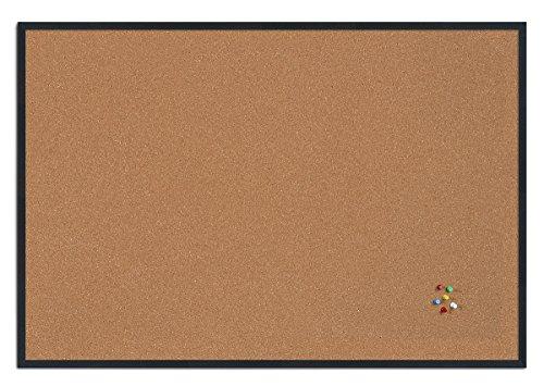 Bi-Office New Basic Tableau d'affichage en liège avec Cadre Noir 885 x 585 mm