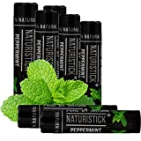 7-Pack Black Peppermint Lip Balm for Men and Women. Attractive Black Stick Gift Set by Naturistick. 100% Natural. Best Beeswax Chapstick for Healing Dry, Chapped Lips. Made in USA