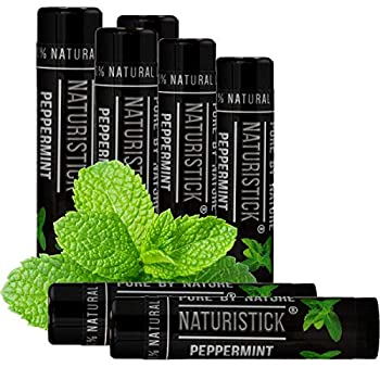 7-Pack Black Peppermint Lip Balm for Men and Women Attractive Black Stick Gift Set by Naturistick 100% Natural Best Beeswax Chapstick for Healing Dry Chapped Lips Made in USA