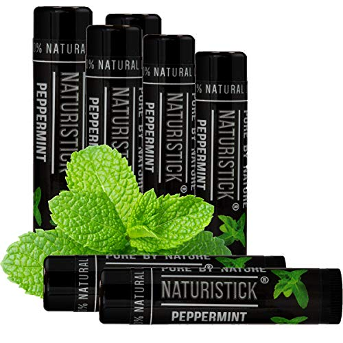 7Pack Black Peppermint Lip Balm for Men and Women Attractive Black Stick Gift Set by Naturistick 100% Natural Best Beeswax Chapstick for Healing Dry Chapped Lips Made in USA