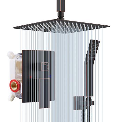 Rainsworth Sistema de Ducha con 12 Pulgada Alcachofa de Acero Inoxidable, Conjunto de Ducha, Sistema de Ducha con Diverter Ducha de Lluvia Bronce frotado con aceite