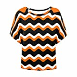 InterestPrint Women's Batwing Shirt Casual Loose Blouse Short Sleeve Tunic Tops Orange Black and White Stripes XXXL