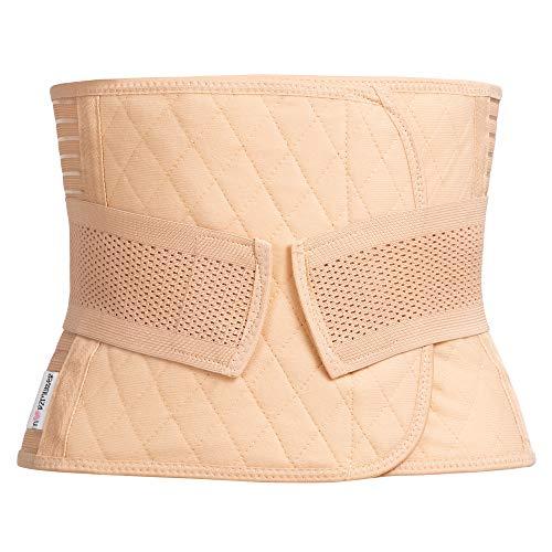 Herzmutter Bauchbinde-Bauchweggürtel-Bauchband - rückbildungsunterstützend - nach Geburt-Schwangerschaft-Kaiserschnitt-OP - stufenlos verstellbares Korsett - 3500 (S, Beige)