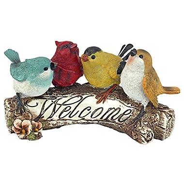 Design Toscano Birdy Welcome Sign Garden Bird Statue, 10 Inch, Polyresin, Full Color