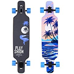 "39"" x 9.1"" drop through longboard for beginner Strong but Flexible Eight Ply Maple Deck make longboard can Hold Up to 250 LBS weight Big Soft 70x50mm PU Wheels combined with ABEC-9 Bearings for Smooth Ride Solid 7 Inch Aluminum Trucks equipped with s..."