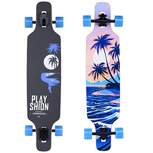 Playshion 39 Inch Drop Through Freestyle Longboard Skateboard Cruiser Coconut Tree