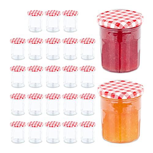 Relaxdays Juego de 25 tarros herméticos Mermelada, 250 ml, Bote de Cristal Rojo, 25er Set