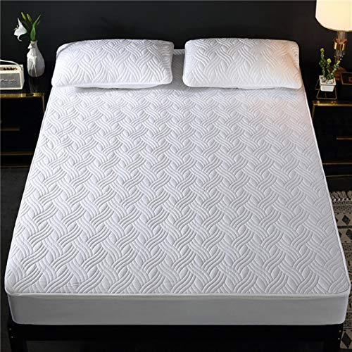 Hypoallergenic Mattress Cover Washable Embossed Cotton Quilted Mattress Protector Soft Air-Permeable Bed Pad,02,90x200x25cm