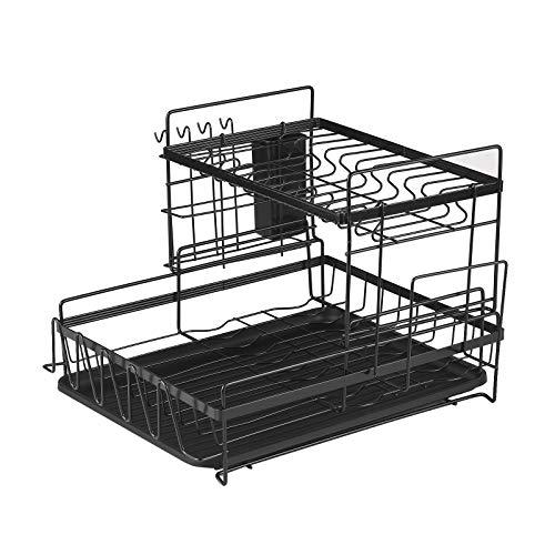 Ajcoflt Escorredor de pratos de aço de carbono, prateleira de armazenamento de grande capacidade para pratos, prateleira de cozinha, prateleira de secagem, suporte de ferramentas, caixa de armazenamento com suporte de hashis preto
