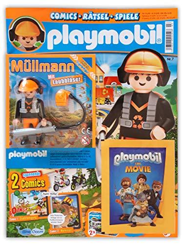 Playmobil Sammelmagazin Nr. 7/2019 inkl. Comics Poster und limitierter Figur Müllmann mit Laubbläser