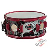 GRIFFIN Snare Drum Birch Wood Shell 14 X 6.5 Inch | Oversize 2.5' Large Vents & Custom Graphic Wrap (Limited Edition) | Red Hardware & Marching Drummers Key for Students & Pros | 8 Metal Tuning Lugs