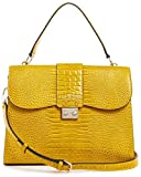 Guess Bolso Handag Cleo Top Handle Flap HWCM7435190 Amarillo Size: 30 x 25 x 9 cm