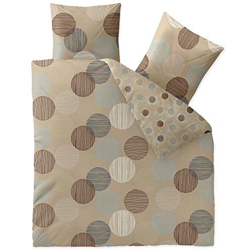 CelinaTex Style Bettwäsche 200 x 220 cm 3teilig Mikrofaser Bettbezug Fabia Punkte beige braun