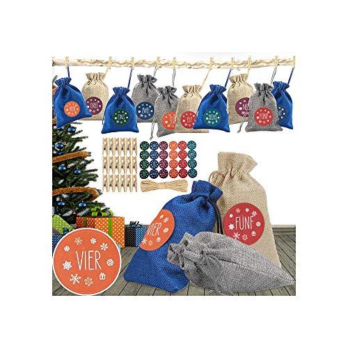 Amokee 24 Adventskalender zum Befüllen - Stoffbeutel, Weihnachten Geschenksäckchen mit Zahlen Aufkleber + Mini-Holzklammern und 10m Jute Hanfseile, Adventskalender 2020, Weihnachtskalender Bastelset