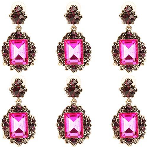 3 pares de pendientes, chapado en oro con diamantes, esmeralda, colgantes, aleación retro, moda, decoración de orejas, joyería, pendientes colgantes, pequeños anillos de oreja para mujer(Rosa roja)