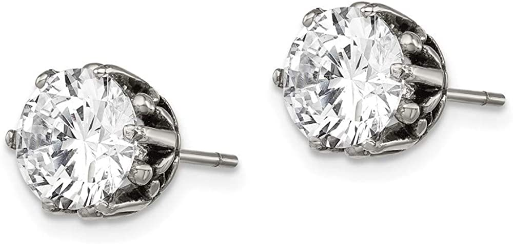 Stainless Steel Round Cubic Zirconia Cz Post Stud Earrings Fashion Jewelry For Women Gifts For Her