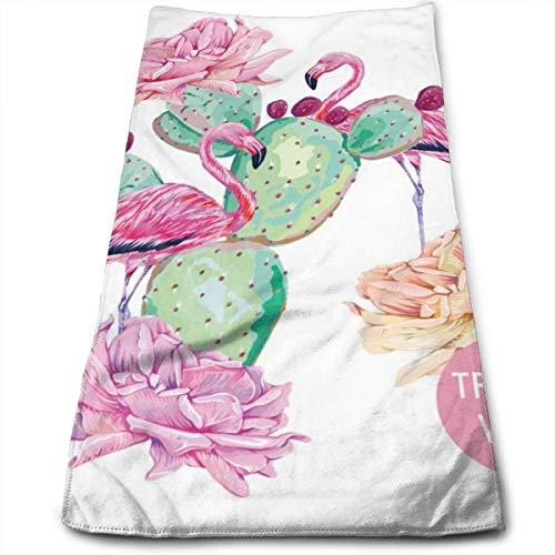 Flamant Rose, Oiseaux Exotiques, Rose, Cactus, essuie-Mains Doux de Composition Tropicale pour Salle de Bain, Plage