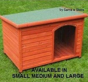 Extérieur Maison Niche pour chien en bois à toit plat chiot Abri accessibles facile à nettoyer résistant aux intempéries