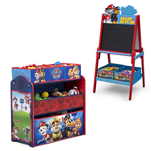 Nick Jr. PAW Patrol 2-Piece Playroom Set – Set Includes Design & Store 6 Bin Toy Organizer and Double-Sided Easel by Delta Children