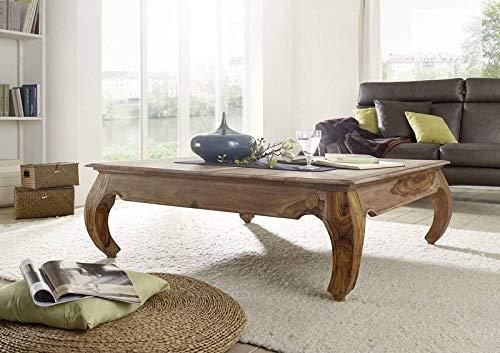 MASSIVMOEBEL24.DE Palisander hell Möbel Massivholz Couchtisch 120x120 Holz Sheesham Massivmöbel Opium #633