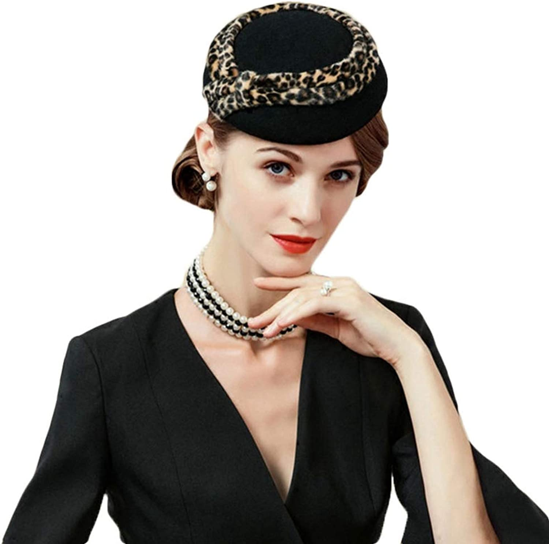 Giles Jones Black Fascinator Vintage Leopard Pillbox Hat Wool Wedding Cocktail Felt Fedora