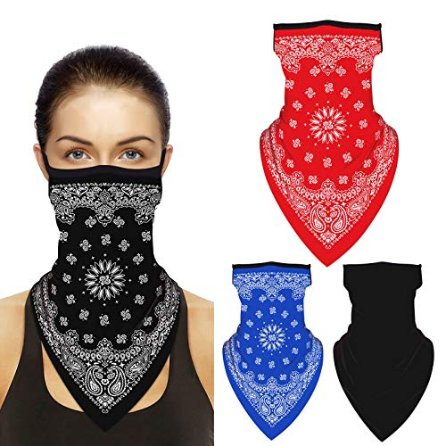 Adopha Bandana face mask with Ear Loops, Women Men Neck Gaiter Scarf Half Cool Face Mask Breathable Dust Protection 4 Pack for Outdoors, Festivals,Motorcycle,Biking, B2, Large