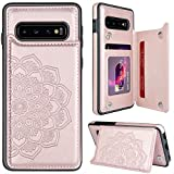 MMHUO for Samsung Galaxy S10 Case with Card Holder,Flower Magnetic Back Flip Case for Samsung Galaxy S10 Wallet Case for Women,Protective Case Phone Case for Samsung Galaxy S10 6.1',Rose Gold