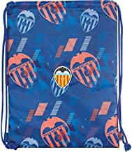 Saco Mochila Valencia CF | Mochila de Cuerdas Escolar, Bolsa de Tela de Deporte con Forma Cuadrada con Cierre Sencillo de Cuerdas, Tamaño Grande - Medidas 35 x 46 cm - Color Azul