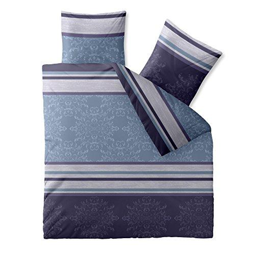 CelinaTex Fashion Bettwäsche 200 x 200 cm 3teilig Baumwolle Nicole Streifen Ornamente Blau Violett