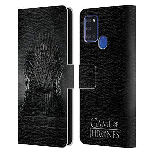 Head Case Designs Oficial HBO Game of Thrones Trono de Hierro Arte Clave Carcasa de Cuero Tipo Libro Compatible con Samsung Galaxy A21s (2020)