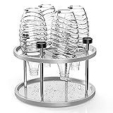 FAPPEN Edelstahl Abtropfhalter, Abnehmbarer Abtropfgestell mit Deckelhalter und Tropfschale und um 360 Grad drehbarer runder Basis, für Glas Flaschen 4er Flaschenhalter