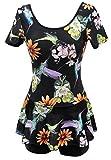 Ecupper Damen Badekleid mit Shorts Blumen Muster Vintage Einteiler Badeanzug Plus Size Schwarze Vögel DE40-42