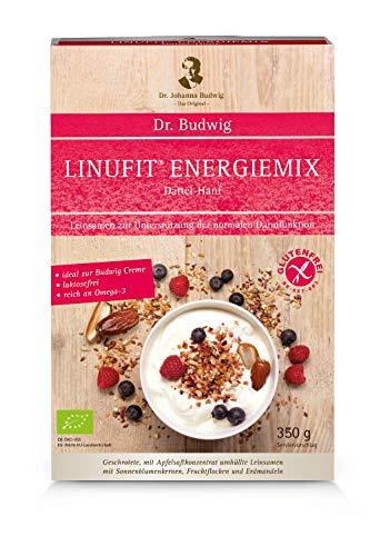 Dr. Budwig Omega-3-Linufit Energiemix Dattel-Hanf - Das Original - Naturbelassene, geschrotete mit Apfelsaftkonzentrat ummantelte Leinsamen, 350 g