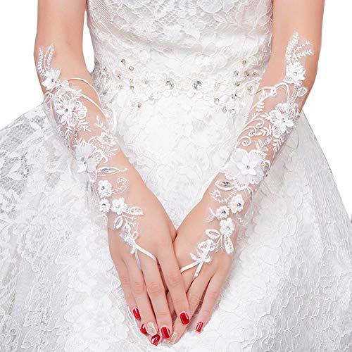 Elegante Aushöhlen-Hochzeits-Handschuhe Weiße Blumenspitze-Handschuhe Rhinestone-langer Handschuh für Braut