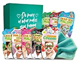 7th Heaven Beauty Box of Treats Gift Pack with 8 Facial Skincare Masks - Includes a Decorated Keepsake Box and Cleansing Face Cloth