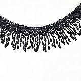 ULTNICE - Cinta de encaje con borlas de encaje, color negro, para costura bordada, 2,74 metros