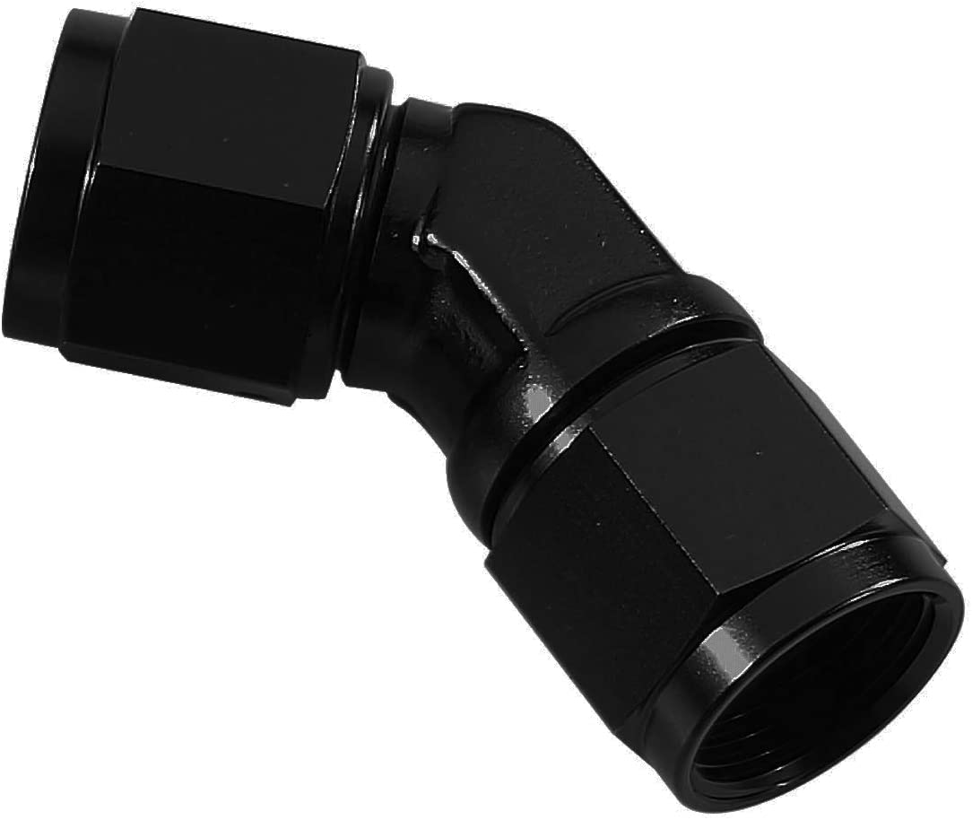 4 AN to Female AN4 Coupler Union Fuel Line Hose Adapter Fitting AC PERFORMANCE Aluminum 45 Degree Swivel Female Black