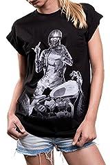 MAKAYA Camiseta Moto para Mujer Manga Corta Talla Grande