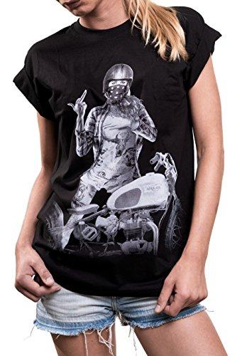 MAKAYA Oversize Top Chica Motorista - Anarchy Custom Bike Oldtimer - Camiseta Moto para Mujer Manga Corta Talla Grande S