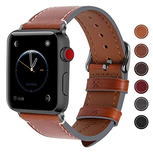 Fullmosa Für Apple Watch Armband 42mm Leder in 8 Farben für iwatch Serie 5/4/3/2/1,Dunkelbraun + Dunkelgrau Schnalle