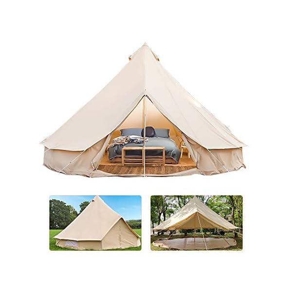 RuanYF Bell Tent, Diameter 9.84ft 100% Cotton Canvas Waterproof Large Tents 4 Season Waterproof Outdoors Yurt Bell Tent… 1