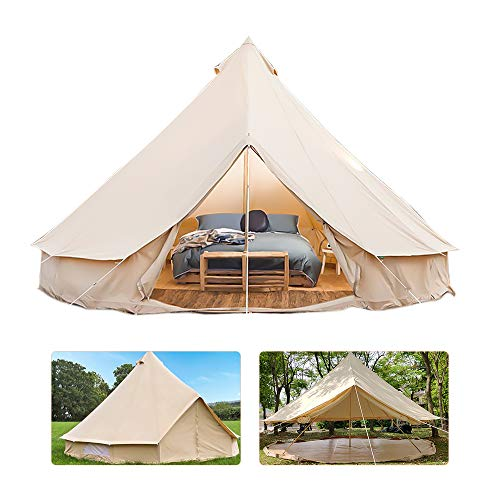keUiy Bell Tent Glamping, 4 Season Waterproof Round Bell Beige Large Tent Canvas Yurt Tent with Door and Windows, with Side Stove Jack Hole, for Family Outdoor Camping Hiking