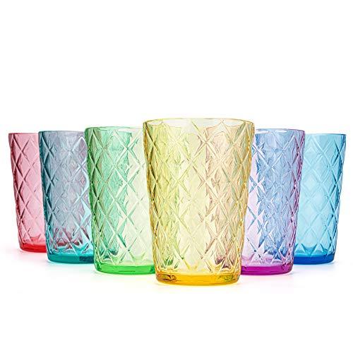 Juego de vasos de plástico mixtos, vasos de acrílico de 15 onzas con diseño de rombos, juego de 6 colores