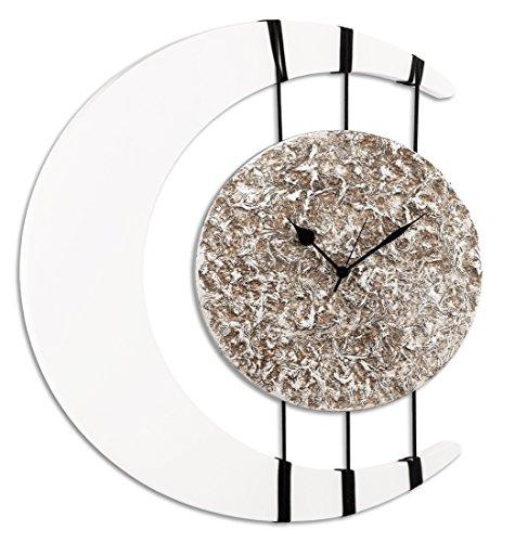 Pintdecor Eclissi Horloge, MDF, Blanc Ivoire/Argent, 66 x 54 x 7 cm