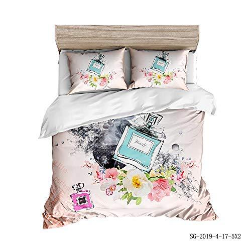 AUYTQ Bettbezug Set 3D Parfüm Gedrucktes Muster Bettwäsche Und Kissenbezug für Kinder, Jungen, Mädchen - 135x200cm Mikrofaser Bettbezüge mit Reißverschluss und 2 Kissenbezug 80x80cm