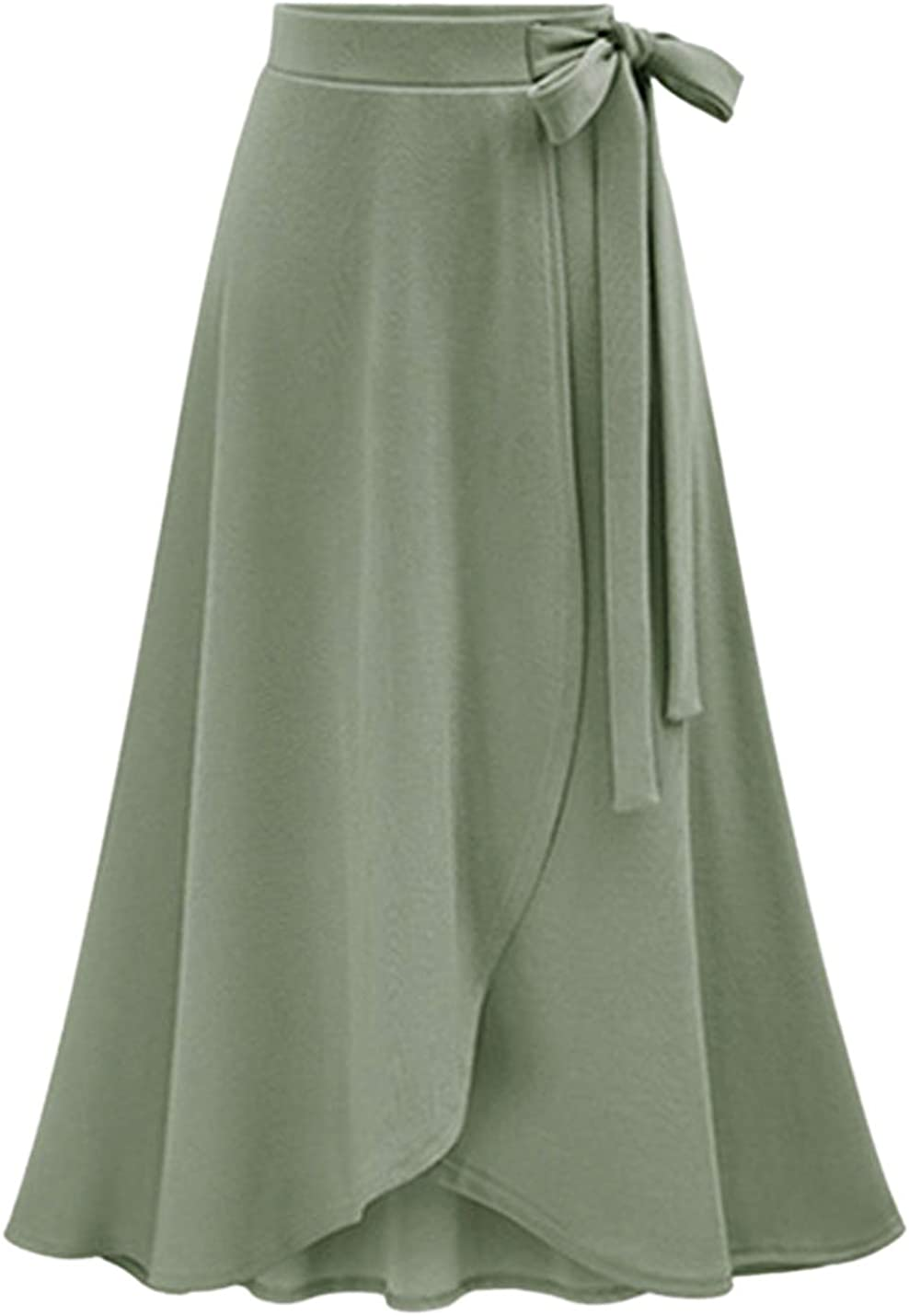 Tanming Women's High Waist Bow Tie Tiered Wrapped Trim Overlap A Line Midi Skirts
